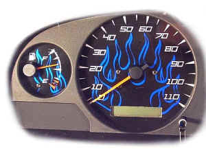 Custom Gauge Face Blue Flames